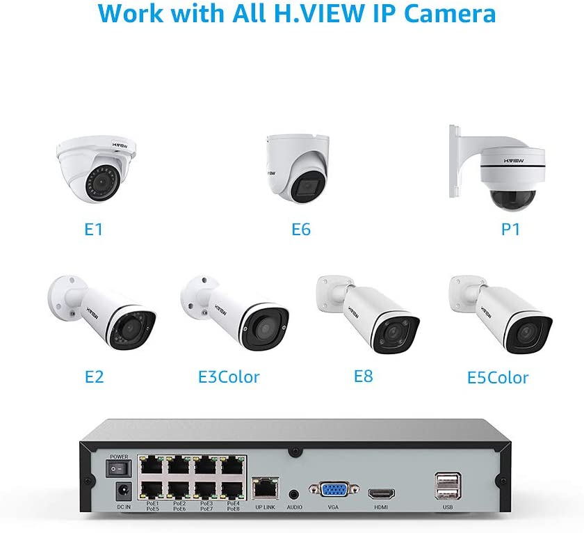 H.VIEW 8 Channels 5MP NVR H.265 CCTV Network Video Recorder Compatible with Onvif IP Cameras, Plug and Play, Motion Detection, Audio/Video Playback (NO HDD)-8x POE Ports - Home Security Camera