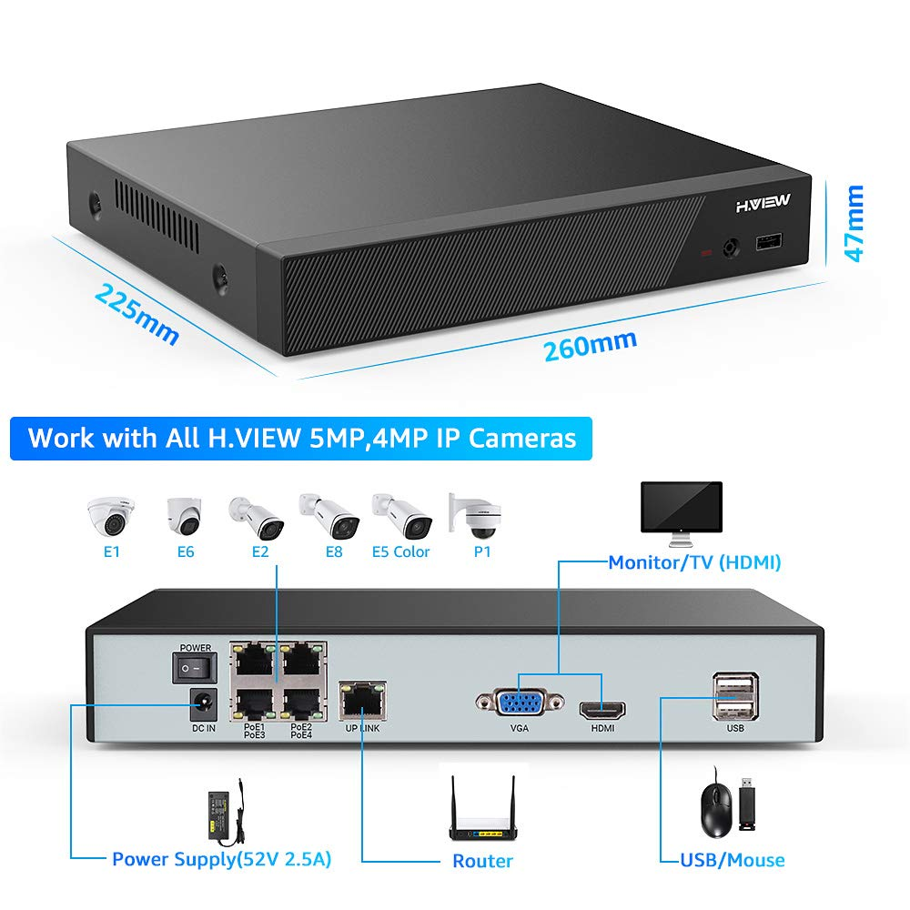4/8Channel 5MP/4MP PoE Security NVR, 24/7 Reliable Recording, Easy PoE - Home Security Camera