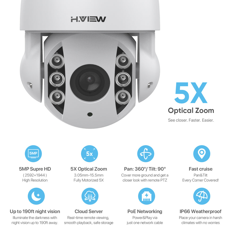 High Speed 5MP PTZ Camera H.265 IP POE Security Camera with 5X Optical Zoom Compatiable with Hikvision, Snapshot Alarm, 360 Degrees Capability and Ease of Installation - Home Security Camera
