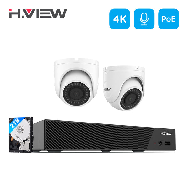 4K Ultra HD IP 8 Channel NVR System with 2 Smart  4K 8MP IP Cameras, 150FT Night Vision, 2TB Hard Drive - Home Security Camera