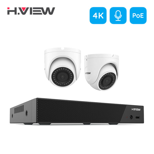 4K Ultra HD IP 8 Channel NVR System with 2 Smart 4K 8MP IP Cameras, 150FT Night Vision (NO Hard Drive Installed) - Home Security Camera
