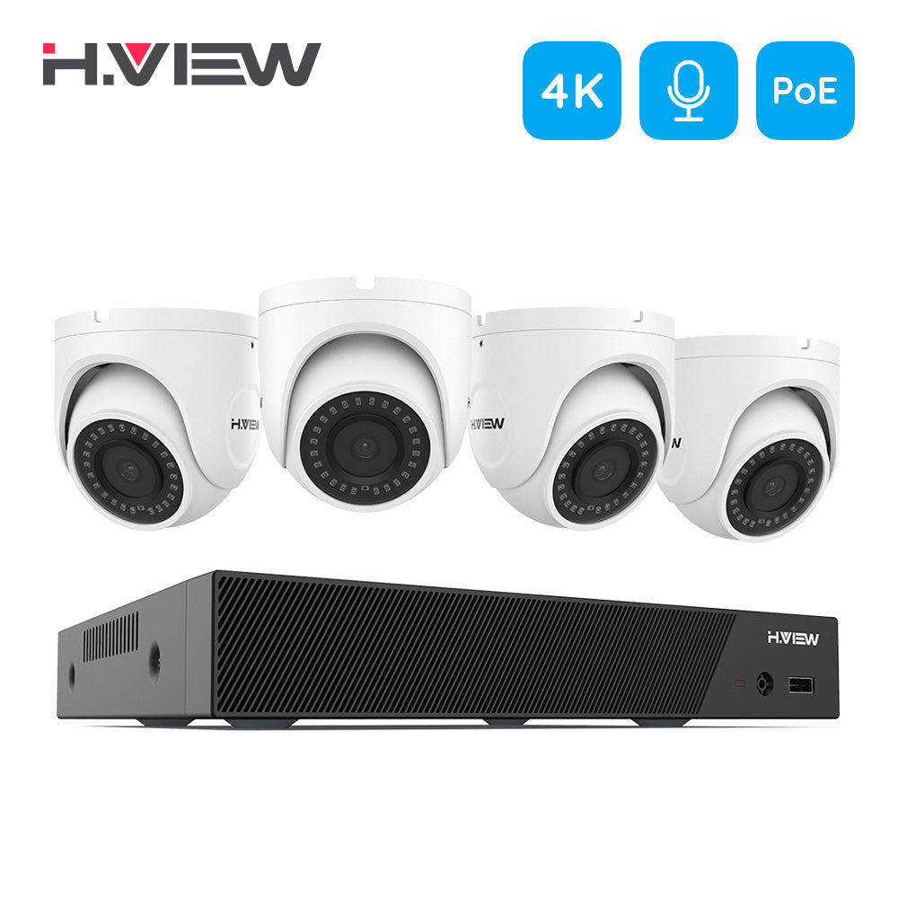 H.VIEW 4K Super HD Security Cameras System, 8 Channel H.265 4K (3840x2160) Video NVR, 4 x 4K (8MP) IP67 Bullet Weatherproof Surveillance Cameras, Motion Alert, 100ft Night Vision (NO Hard Drive Installed) - Home Security Camera