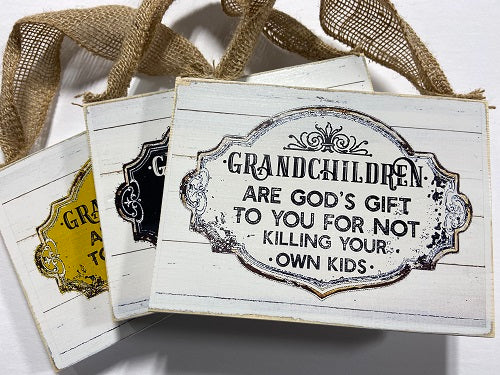 195 Grandchildren are God's gift to you for not killing your own kids sign 6x8""
