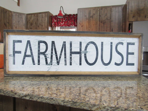 "Farmhouse Framed wood sign 12x40x2"" Farmhouse decor"