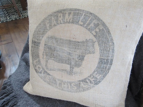 #5004Burlap Farm Life Pillow Cover