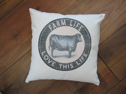 #5004Canvas Farm Life Pillow Cover