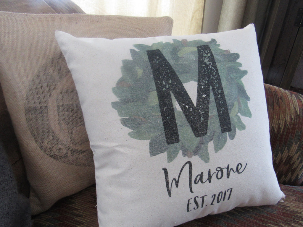 #5009 Custom Magnolia Wreath  Canvas Pillow Cover