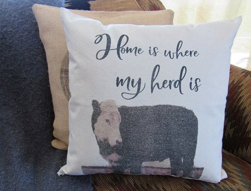 #5010 Home is where my herd is  Canvas Pillow Cover