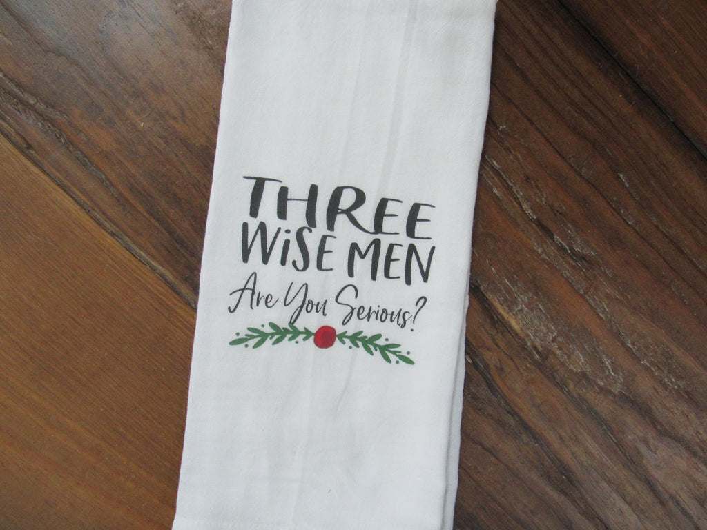 #fs192Tea Towel Three wise men.