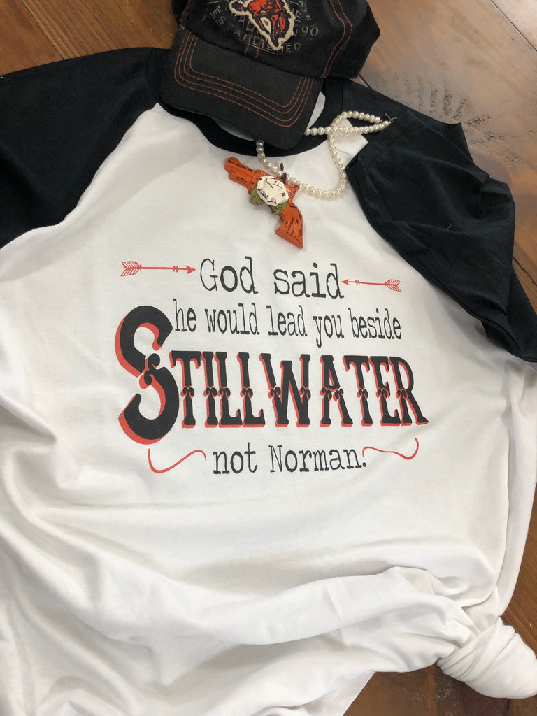 #3103 God said he would lead you beside Stillwater Baseball tshirt