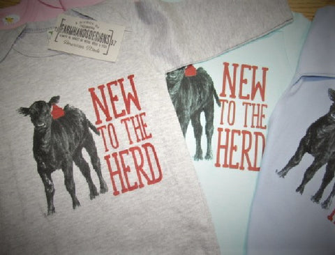 New to the herd long or short sleeve cotton Onesie