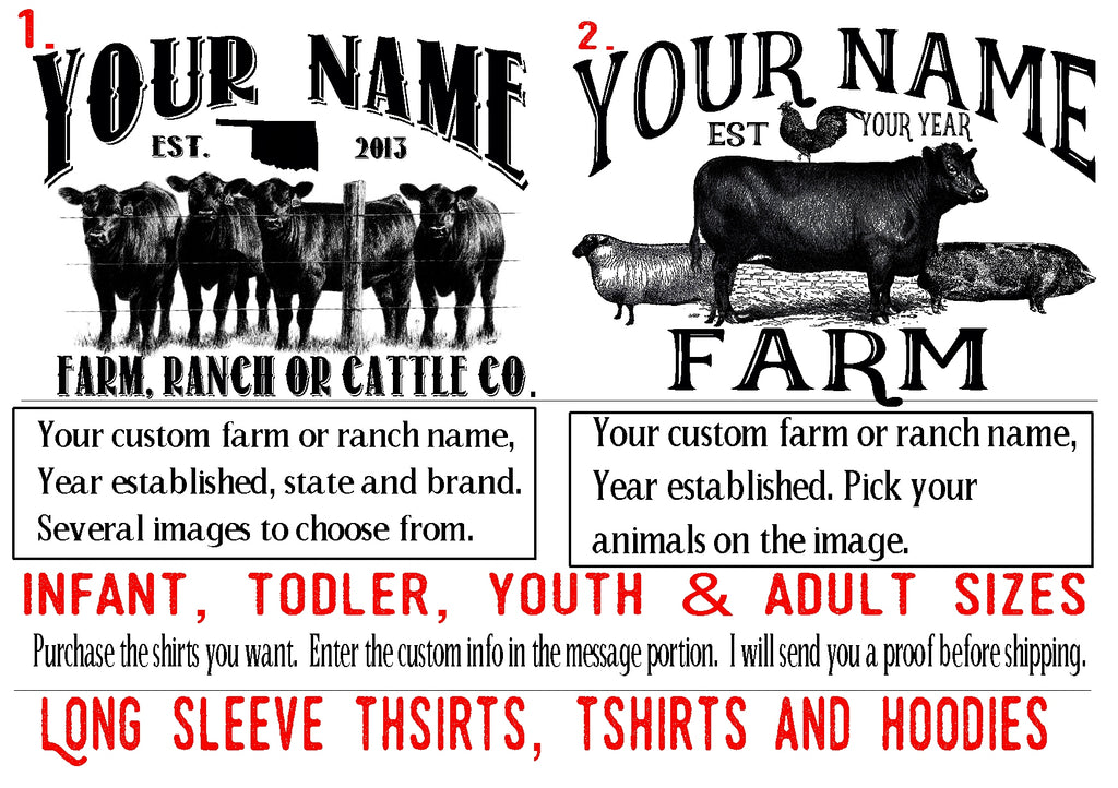 Custom Farm Hoodie Chicken sheep goats Horse Cattle Youth Infant toddler Adult sizes personalized