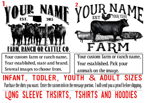 Tshirt Custom Farm Ranch TShirt Cattle co. Youth Infant toddler Adult sizes Custom farm shirts for the whole family