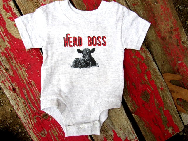 #3000 Farm Baby onesie body suit Herd Boss Angus Hereford