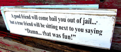 #527 A good friend will come bail you out of jail 6x16  sign