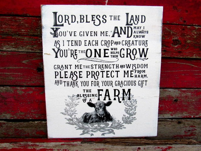 "The blessing of a farm 18x21"" Farmhouse decor farm prayer wood sign"