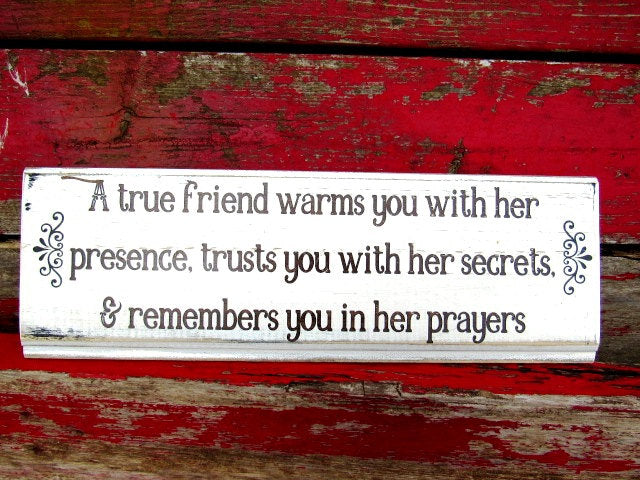 #2810 a true friend warms you with her presence wood sign 6x16""