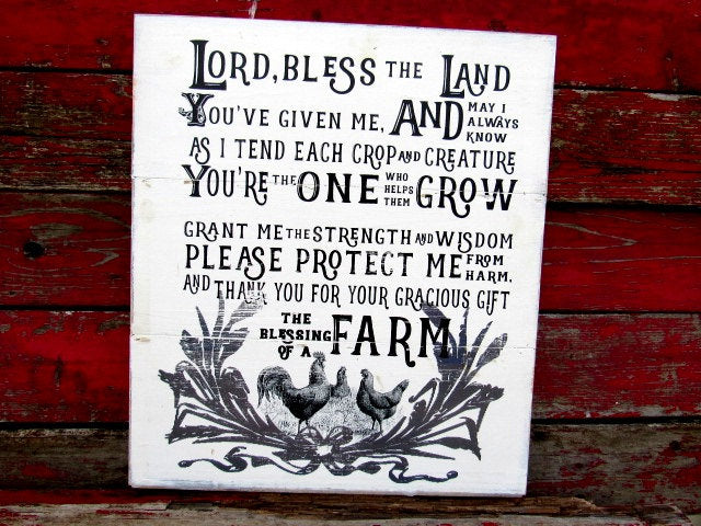 "#2638 The blessing of a farm CHICKEN  WOOD SIGN 18x21"" shiplap"
