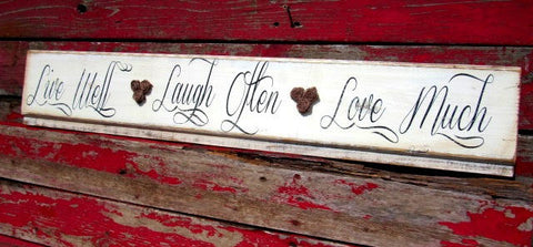 #2303 Live Well laugh often love much Shiplap wood Sign-8x40