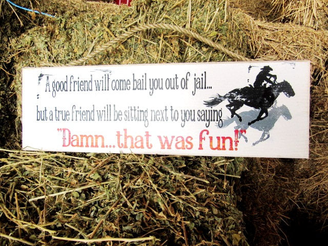 #378 A good friend will come bail you out of jail wood sign 6X17