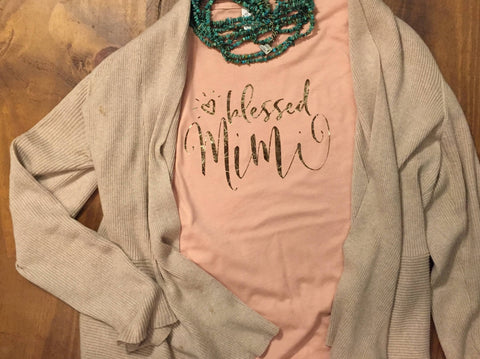 Blessed Mimi rose gold foil tshirt