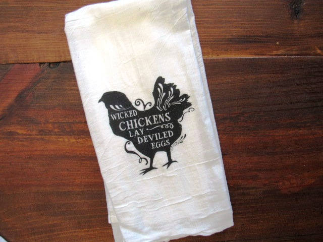 FS178 Wicked chickens lay deviled eggs TEA TOWEL