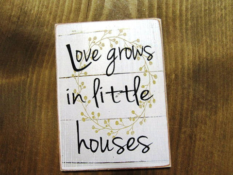 "#2511 Love grows in little houses 4x4"" refrigerator magnet shiplap farmhouse decor"