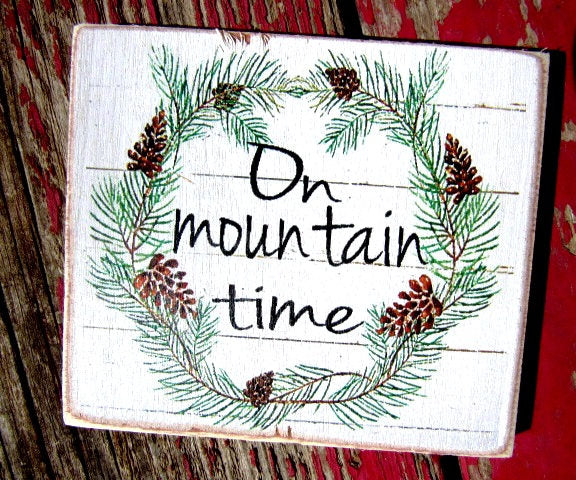 "#2599-2 On mountain time  4x4"" refrigerator magnet"