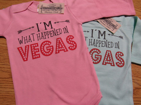I'm what happened in Vegas long or short sleeve cotton Onesie