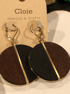 Wood Disc Earrings