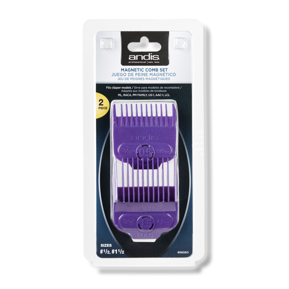 Andis Single Magnetic Comb Set — Dual Pack 0.5 & 1.5