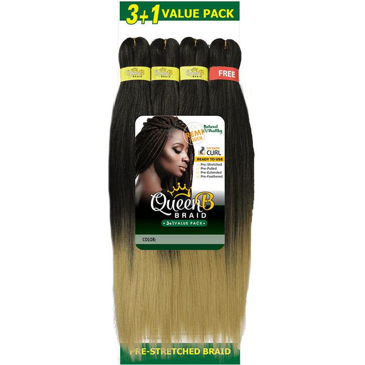 Queen B  3 + 1 Free Value Pack Braiding Hair  50 Inch