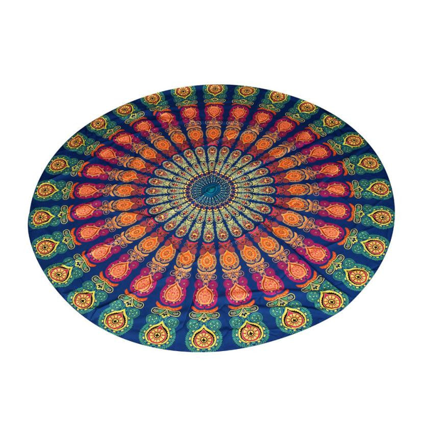 1PC Round Yoga Blankets  Multi-Function Also Used as Beach Pool Home Blanket #28