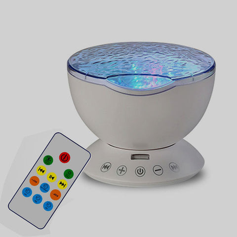 Romantic Ocean Light Lamp 7 Colorful Remote Control Ocean Wave Projector Auto Rotating Night Lights For Kids Bedroom Living Room