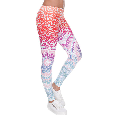 Brands Women Fashion Legging Aztec Round Ombre High Printing leggins Slim Woman Pants 2017 Hot