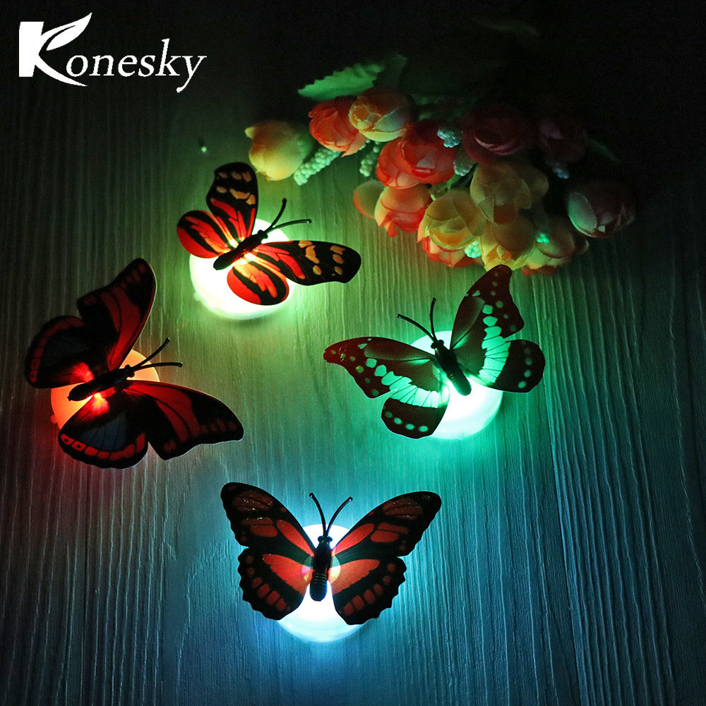 Konesky 10 pcs/lot RGB LED Night Light Beautiful Butterfly Multicolor Changing Night Lamp for Desk Wall Christmas Decoration