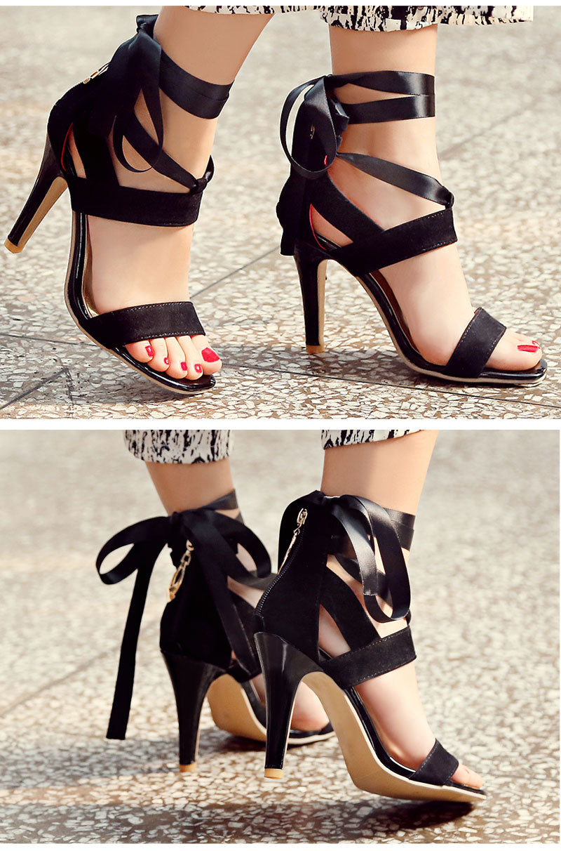 Lace-up Gladiator Heels | Women's Shoes - Sadie Cole