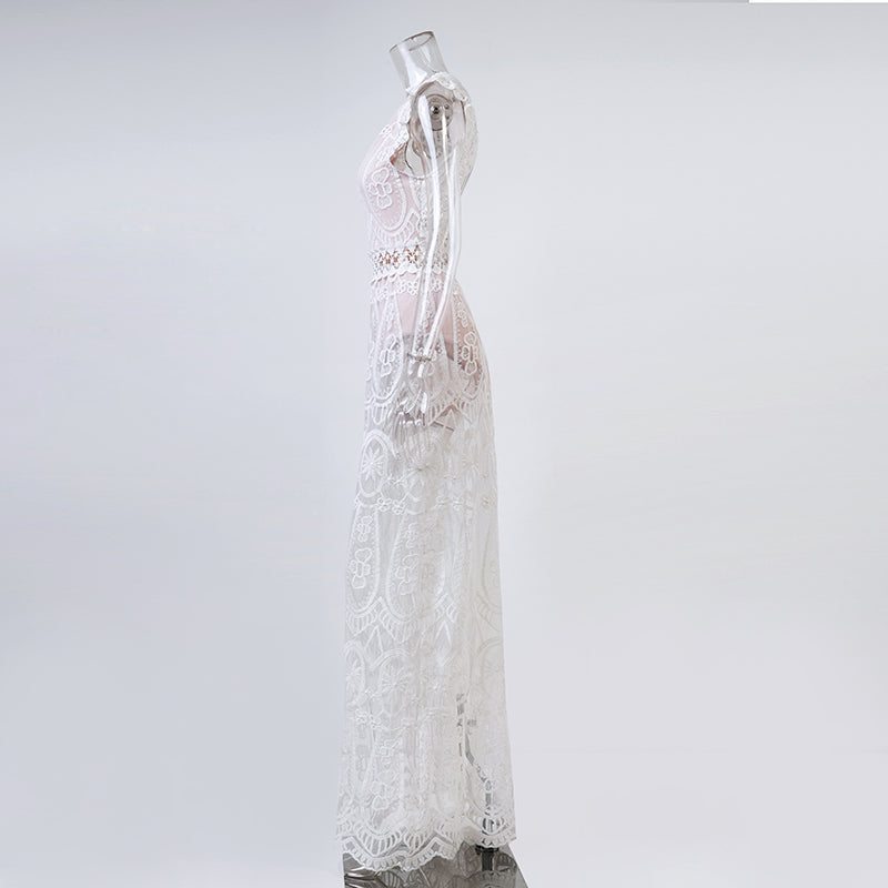Hollow-out Lace Beach Dress - Sadie Cole