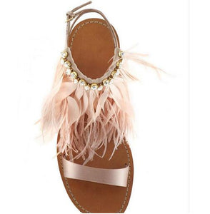 Bohemian Feather Sandals | Women's Shoes - Sadie Cole