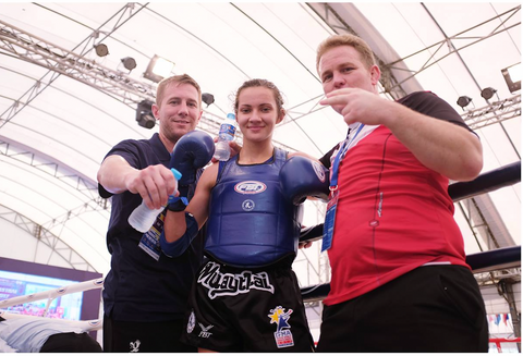 Bekah Irwin and Michael Chase Corley and Daniel Brandt at IFMA games