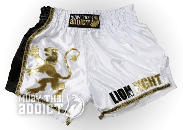 LF Golden Lion Muay Thai Shorts - White