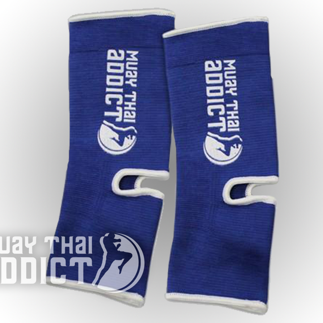 Muay Thai Addict Ankle Supports(Blue with White Border)