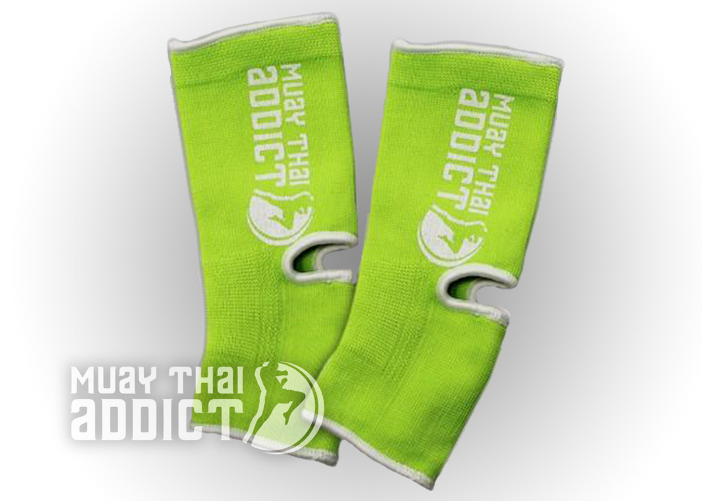 Muay Thai Addict Ankle Supports(Green with White Border)