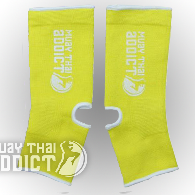 Muay Thai Addict Ankle Supports(Yellow with White Border)