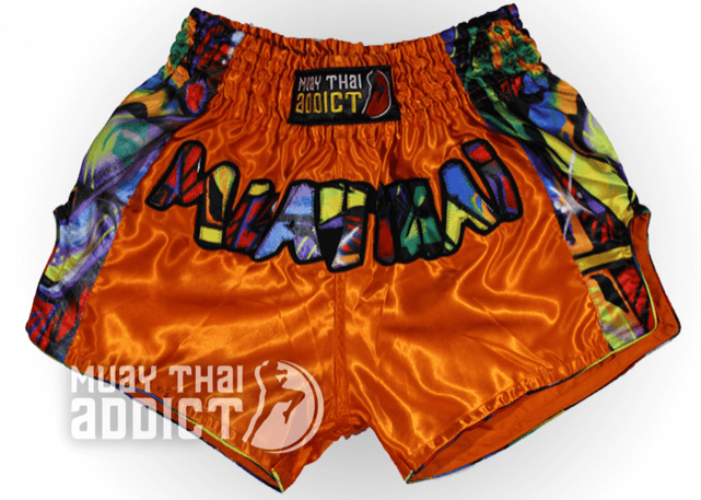 Orange Muay Thai Graffiti Shorts