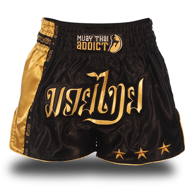 Black and Gold Single Panel Stars Muay Thai Shorts