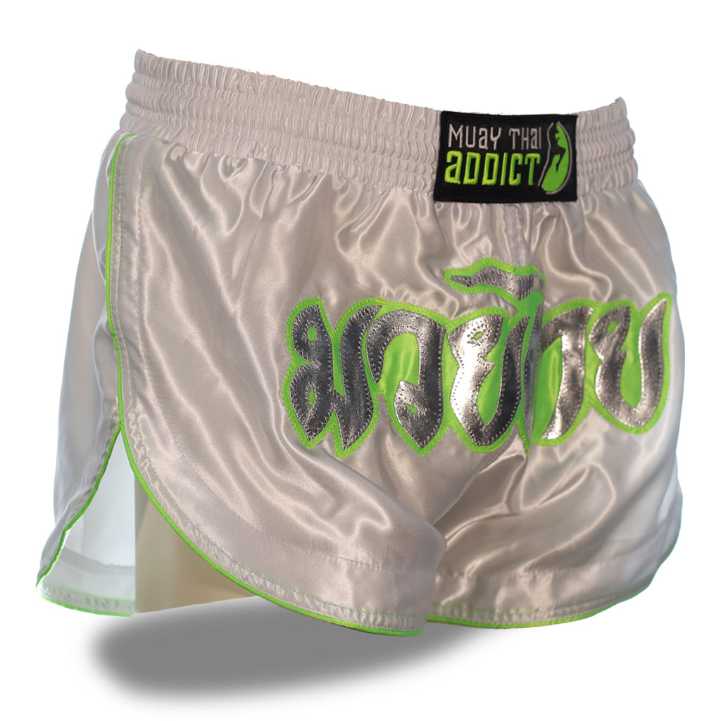 White and Lime Green Retro Shorts