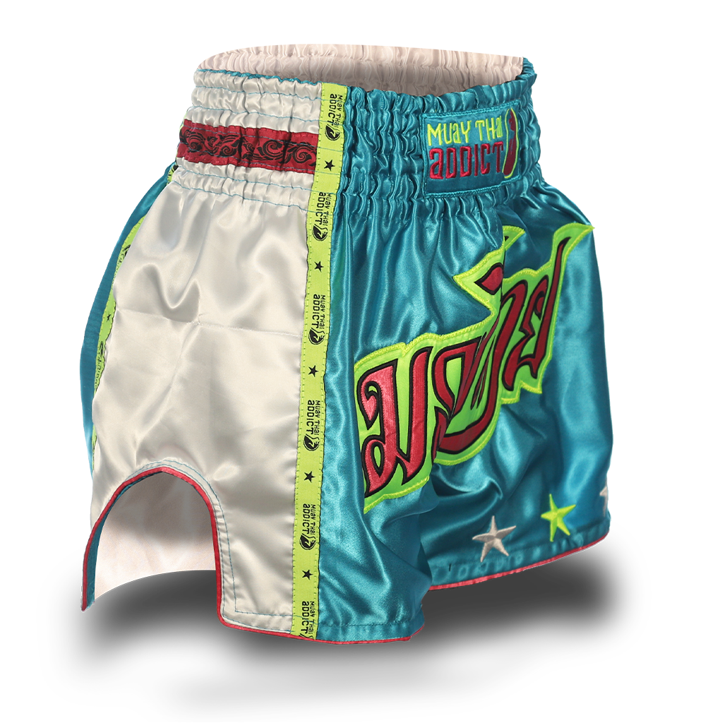 Aqua Blue Single Panel Stars Muay Thai Shorts
