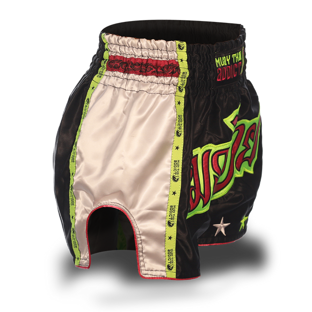 Black and Green Single Panel Stars Muay Thai Shorts
