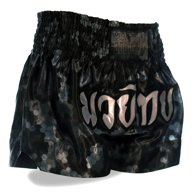Black Honeycomb Camo Muay Thai Shorts